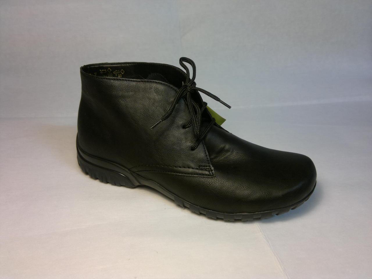 Rieker - hladká černá zateplená bota se zavazováním na tkaničku